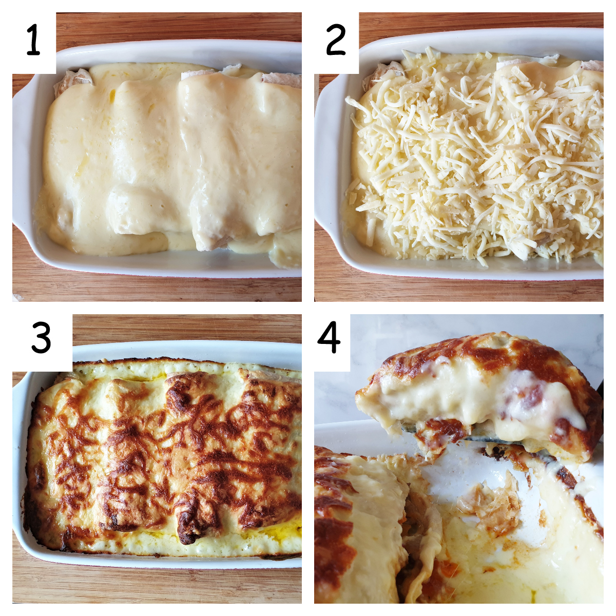 Collage showing steps for assembling turkey fajitas for oven.