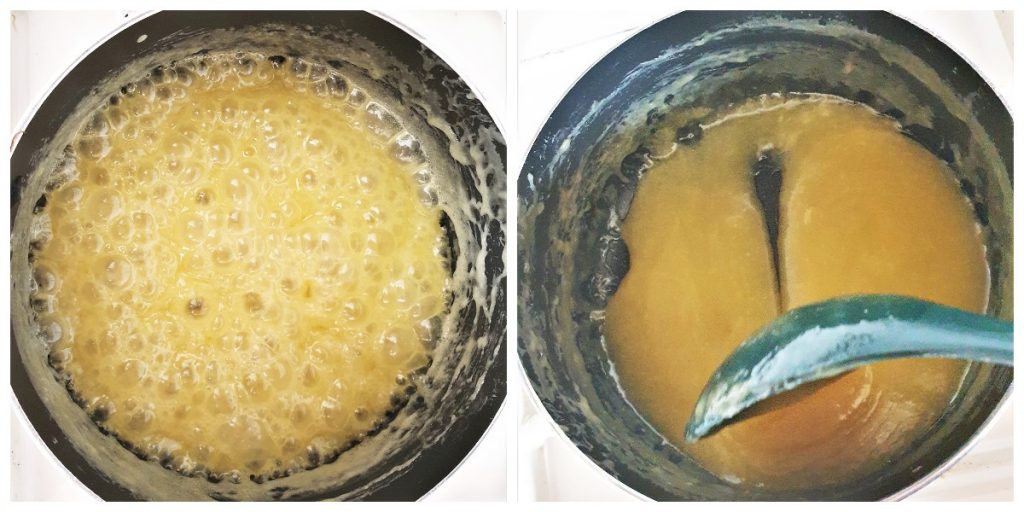 Two images, one showing the caramel sauce being boiled, and the other showing the consistency of the sauce.