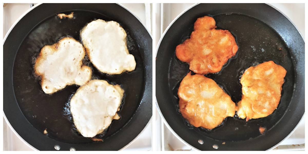 Two images showing banana fritters being fried.