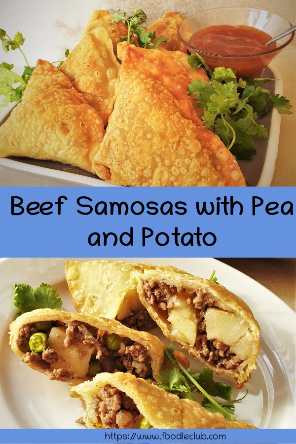Pinterest image for beef samosas.