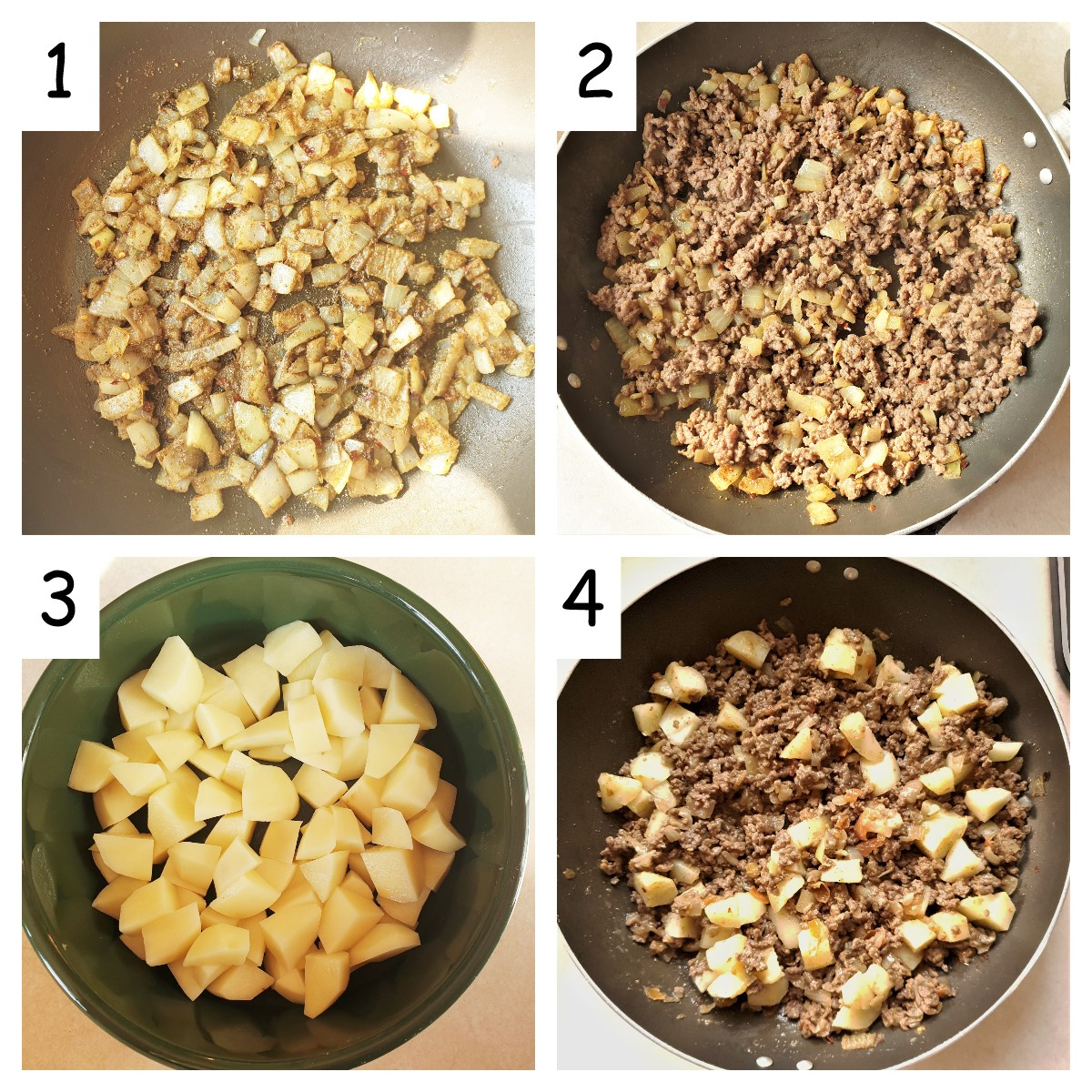 Collage of 4 images showing how to make the filling for beef samosas.