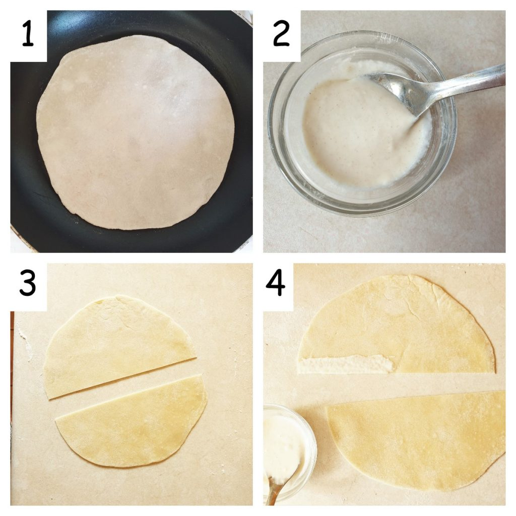 Collage of 4 images showing how to prepare the pastry for beef samosas.