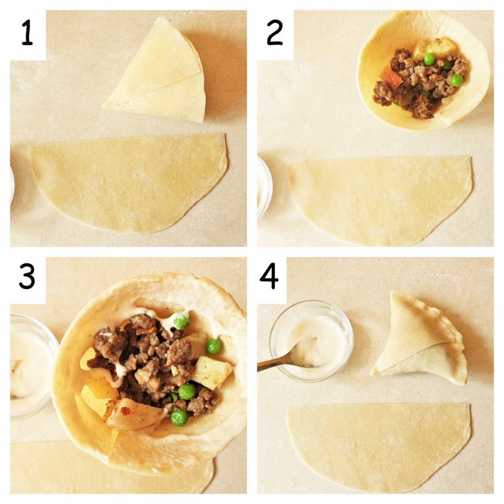 Collage of 4 images showing how to fold and fill beef samosas.