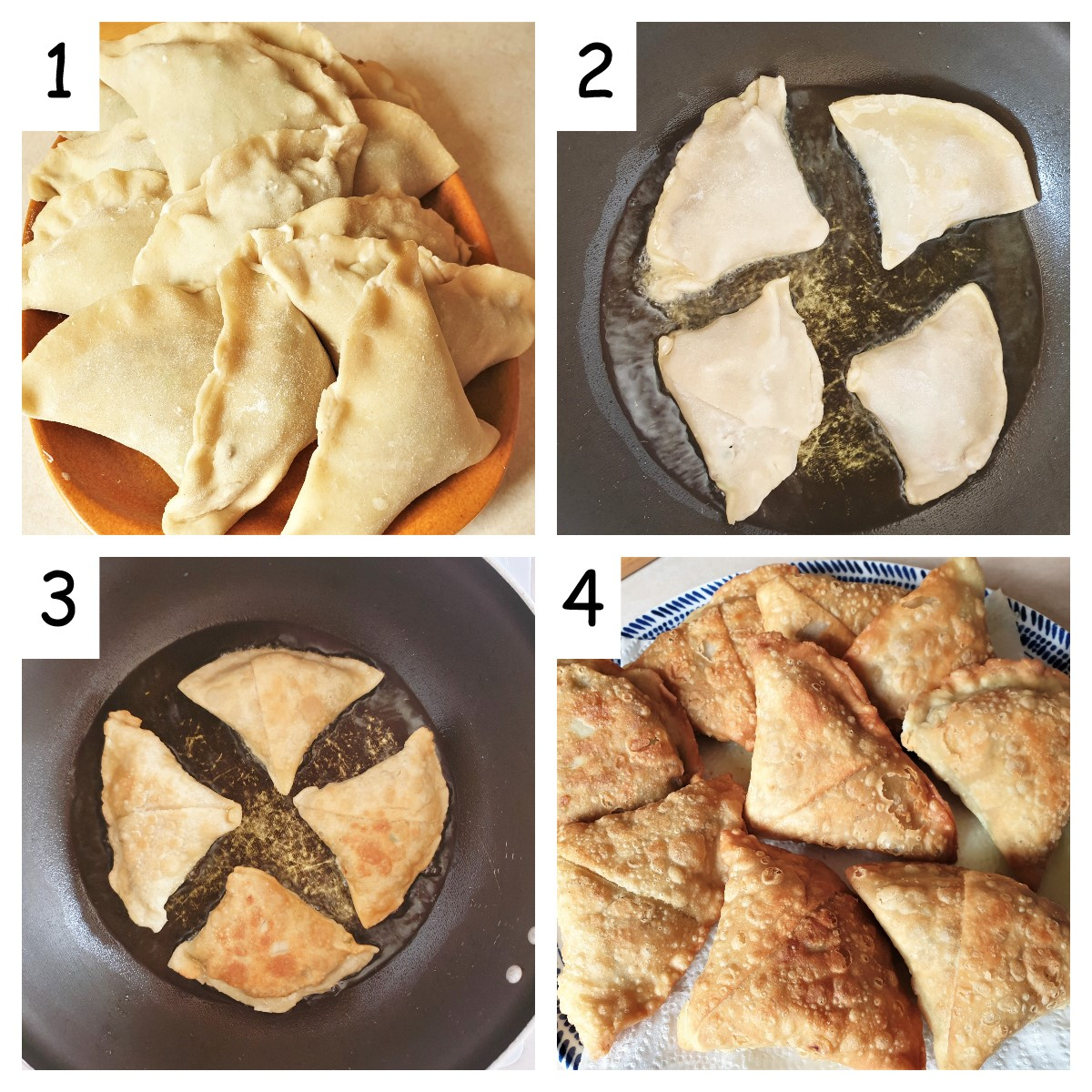 Collage of 4 images showing how to fry beef samosas.