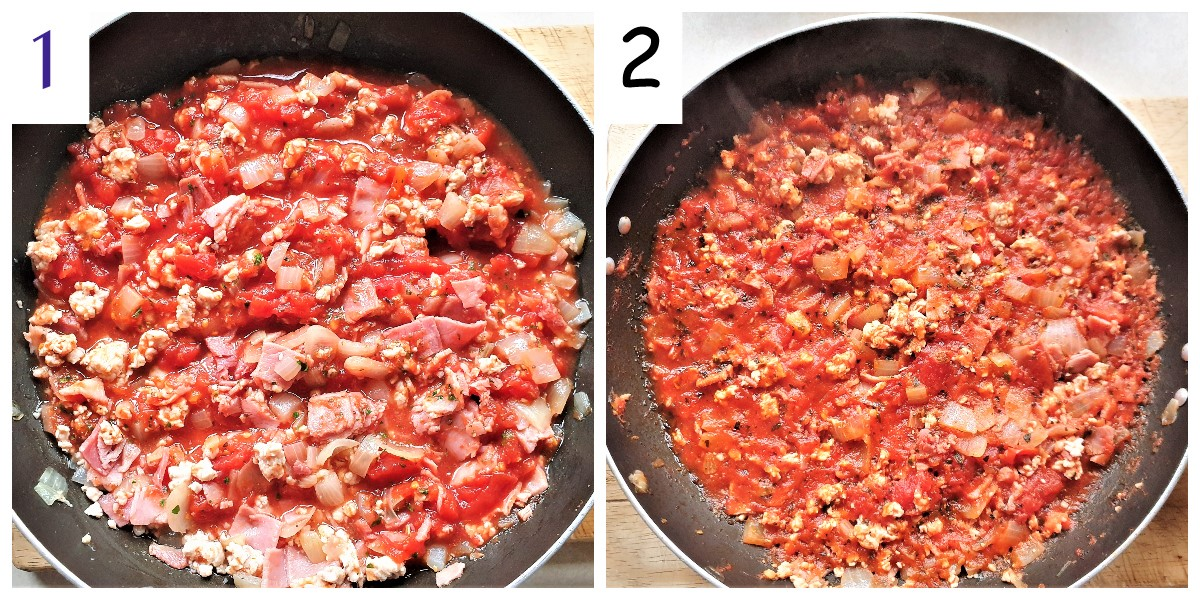 2 images showing how to add and cook the tomatoes.