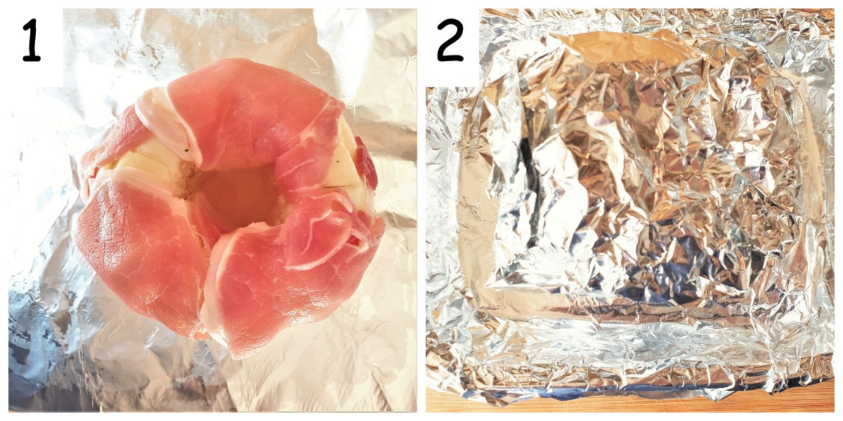 Collage showing a head of cabbage wrapped in bacon and filled with chicken stock, wrapped in tinfoil.