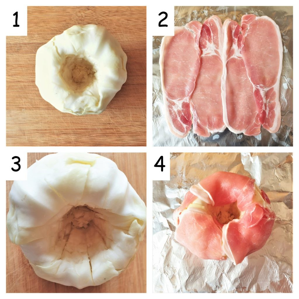Collage of 4 images showing how to remove the core from the cabbage and wrap the cabbage in bacon.