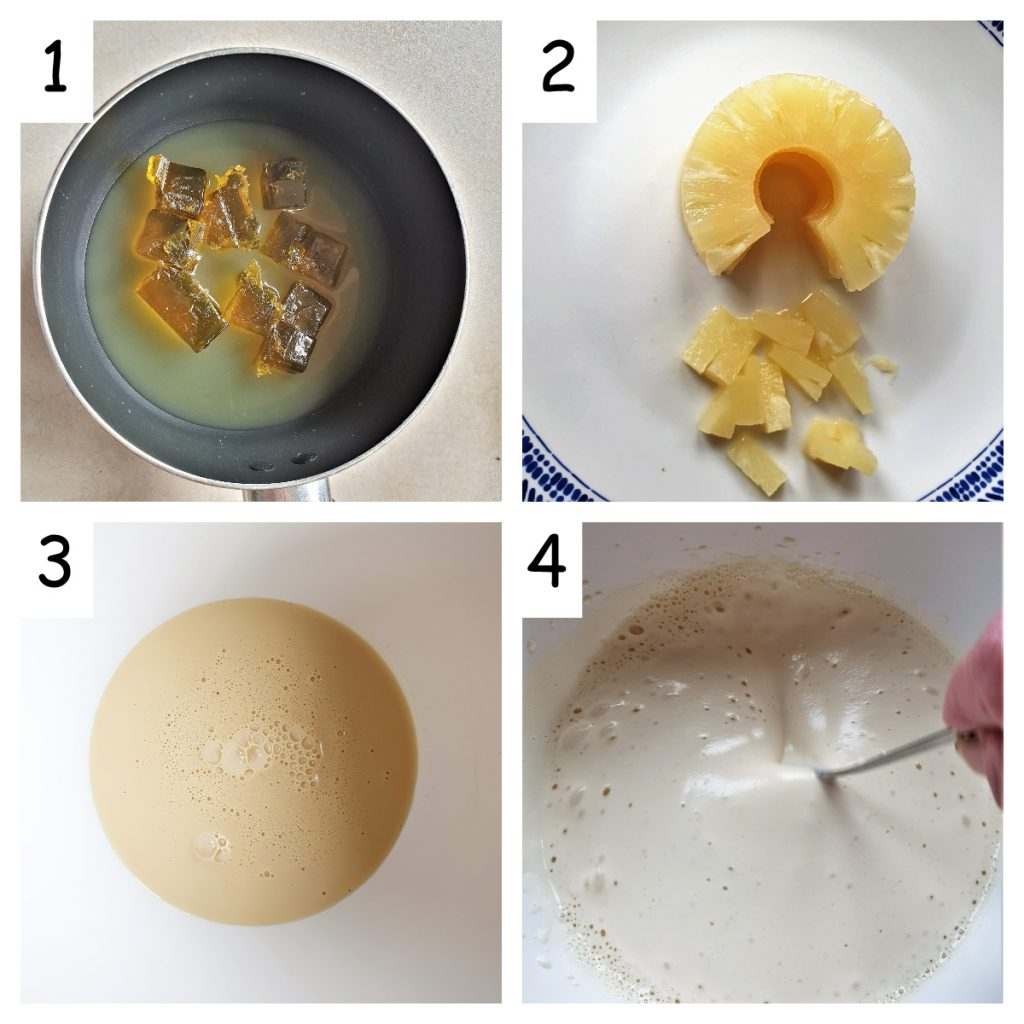 A collage showing how to mix the filling for the pineapple icebox cake.