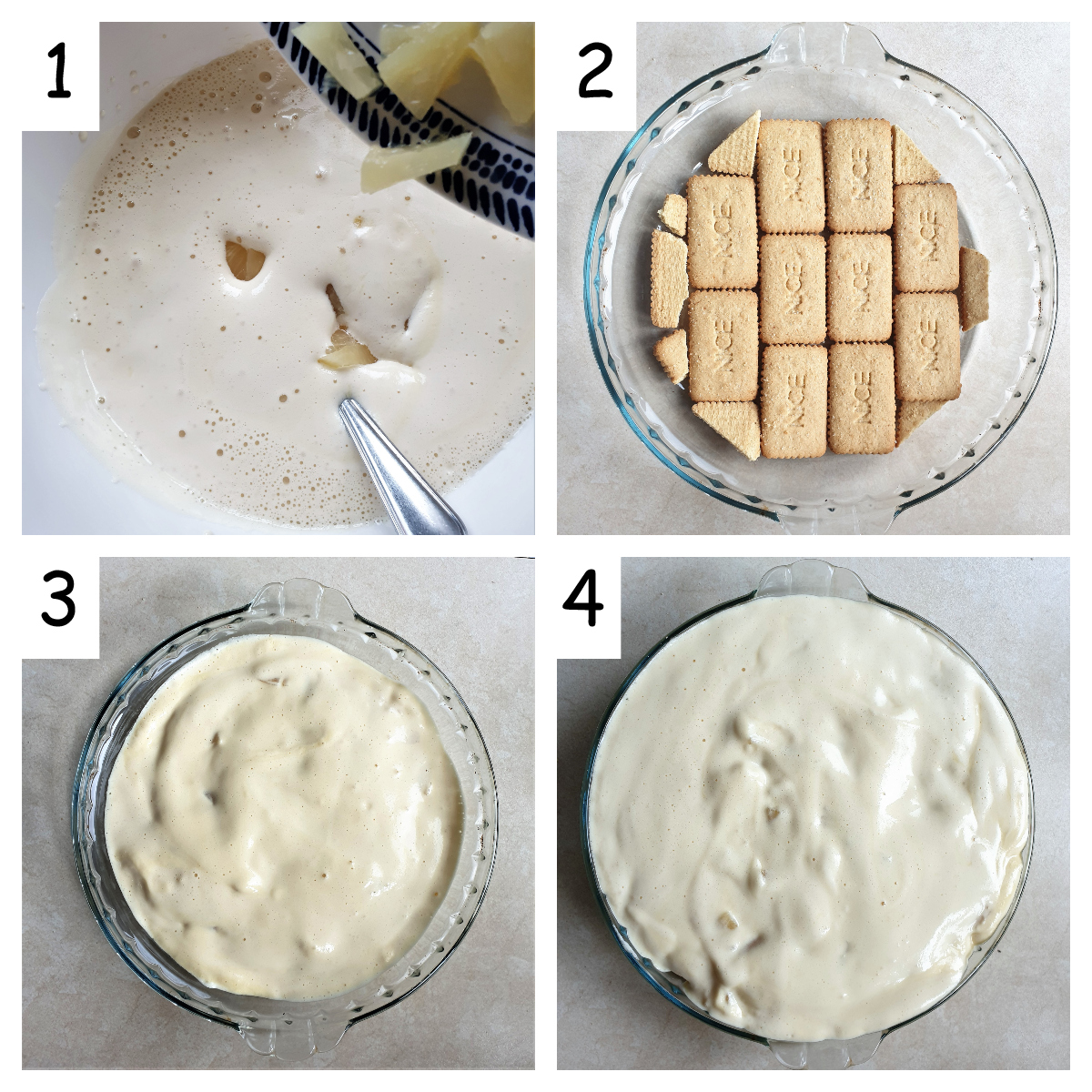 A collage of 4 images showing how to assemble the pineapple fridge tart.