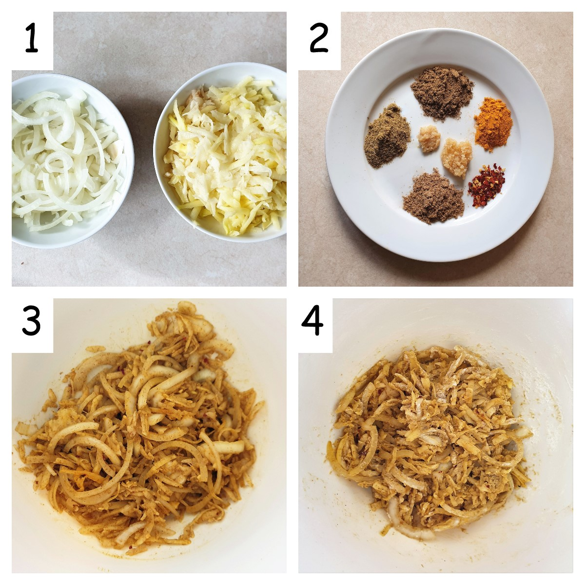 Collage of 4 pictures showing steps for mixing potato and onion bhajis.