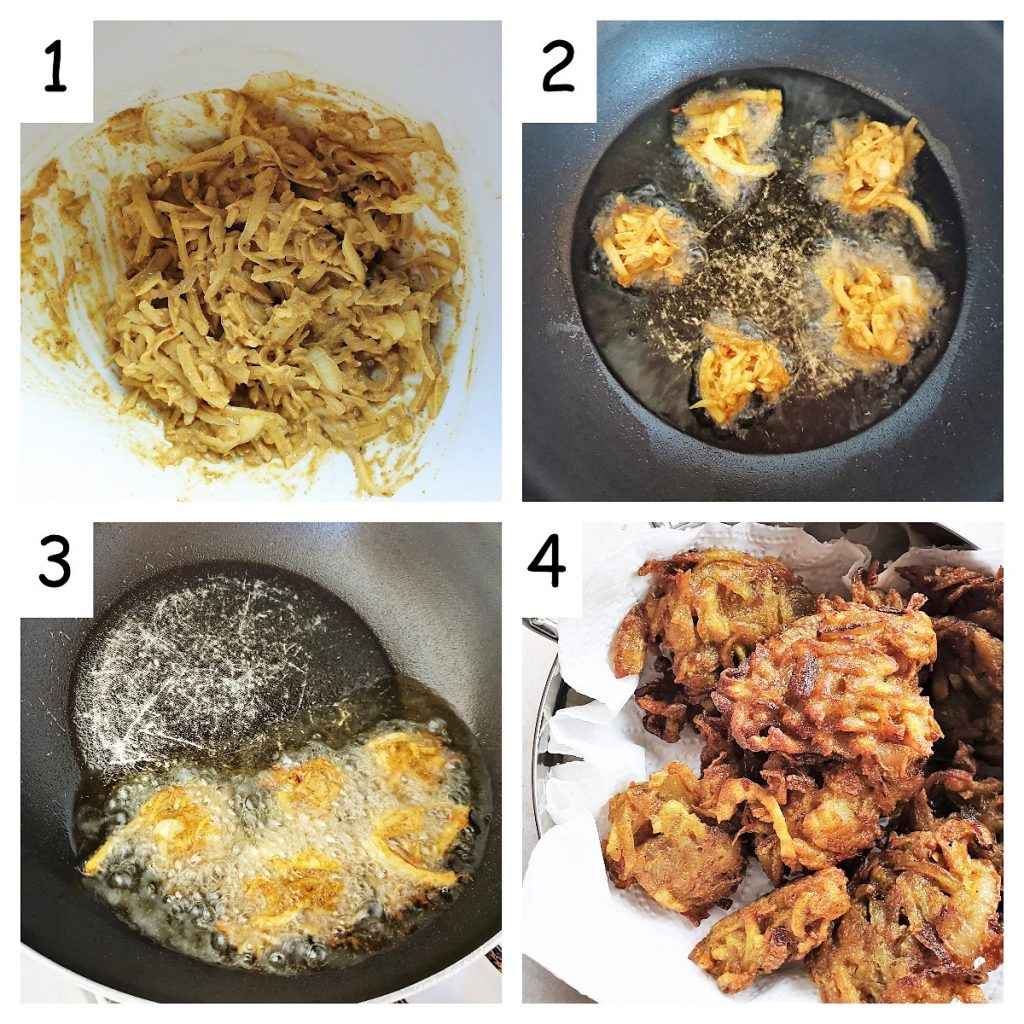 Collage of 4 pictures showing steps for frying potato and onion bhajis.