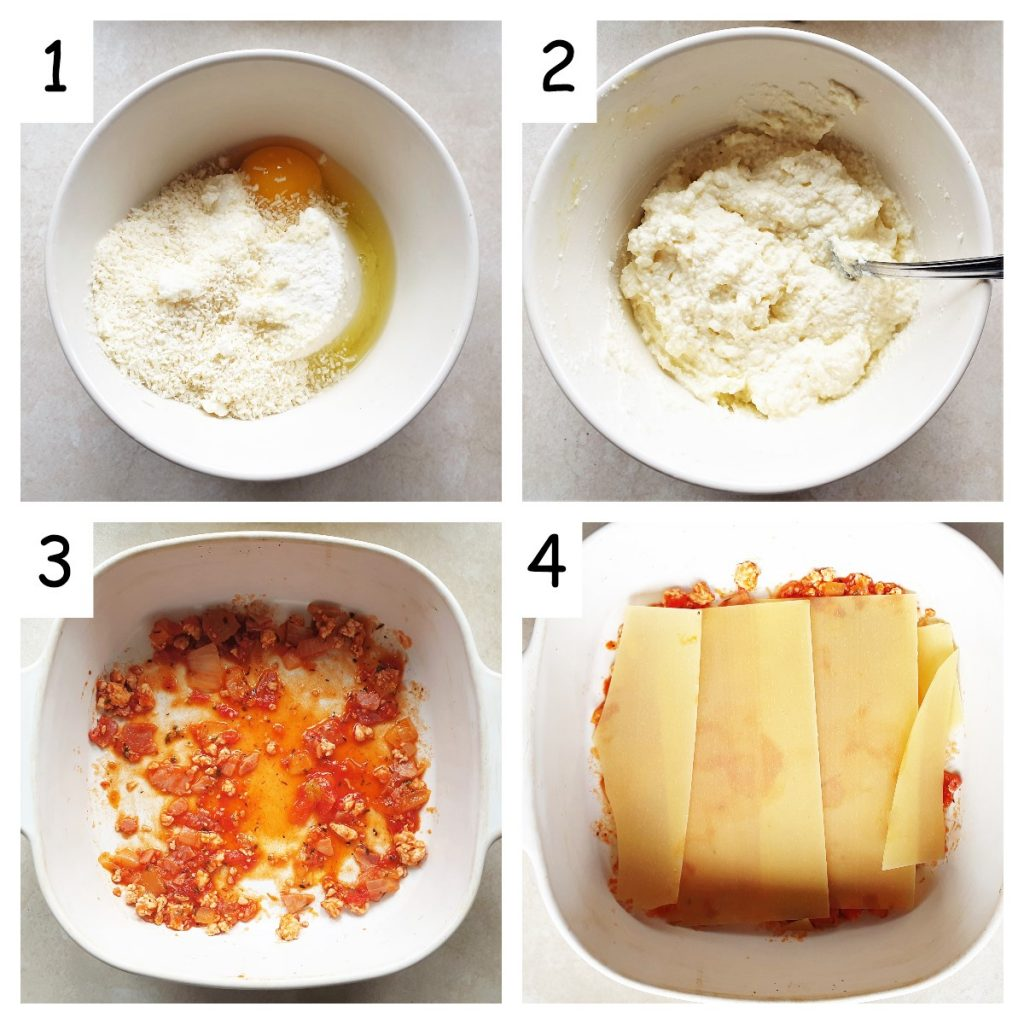 Collage showing how to mix cheese spread and place first layer of lasagne in a dish.