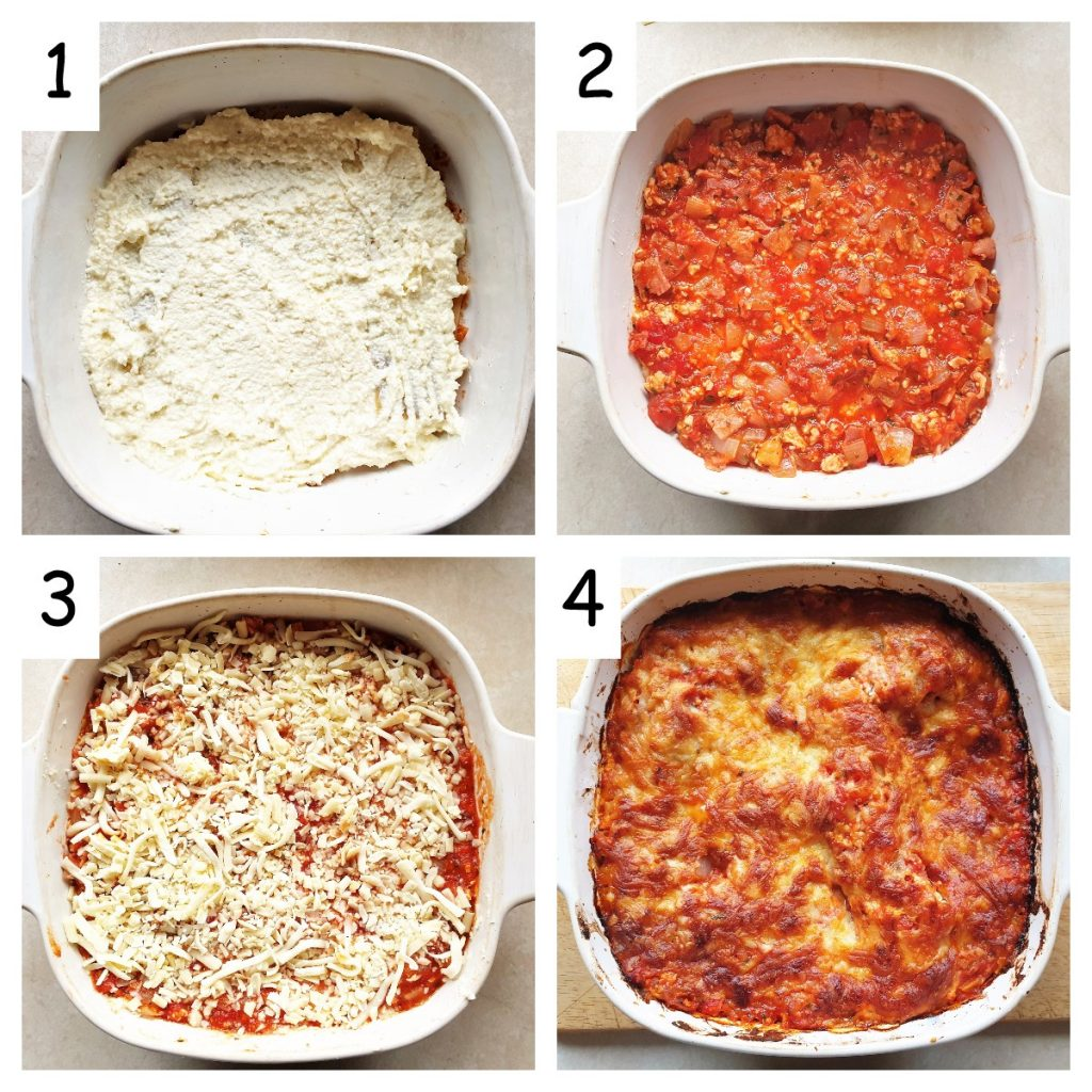 Collage showing steps for covering lasagne with cheese and baking.