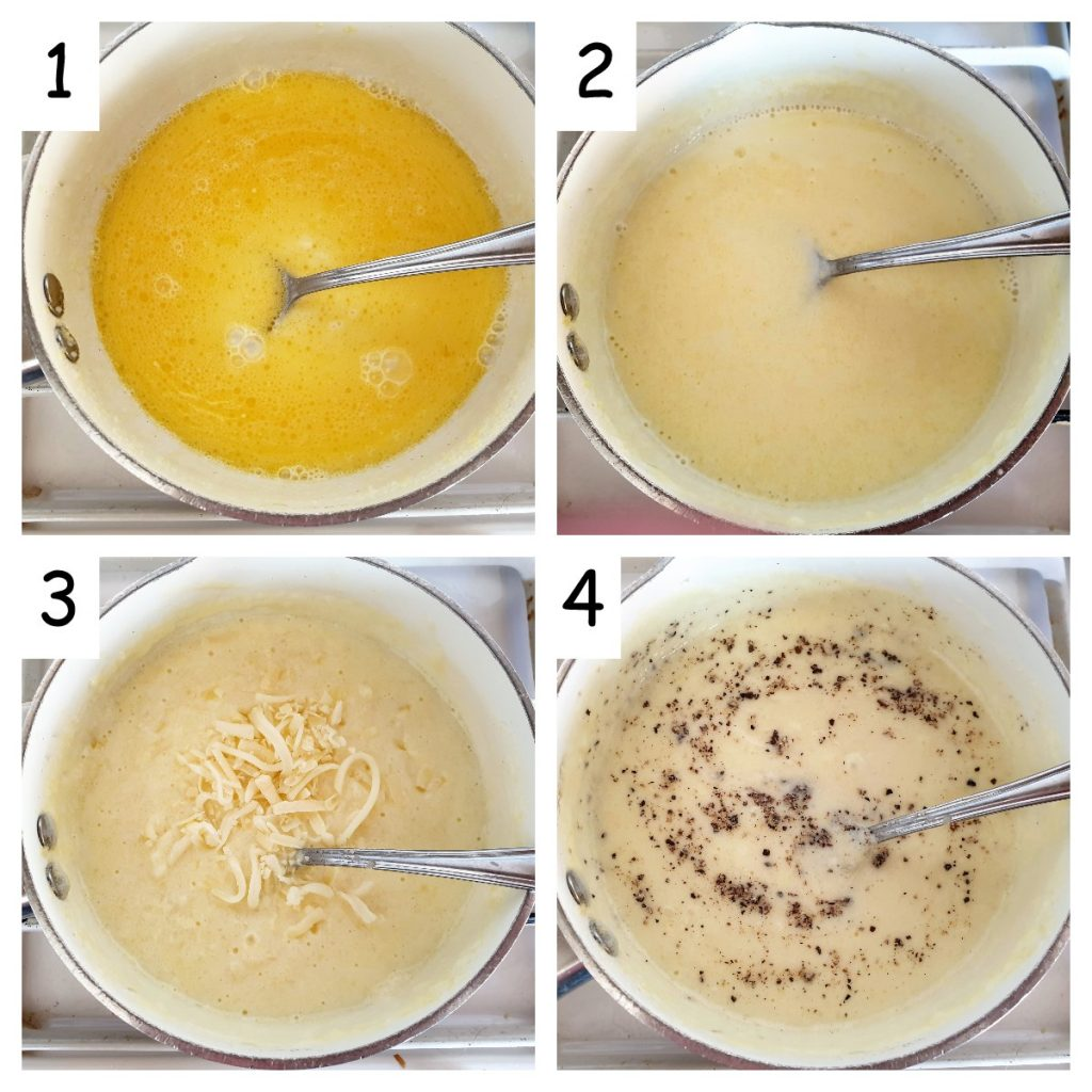 Collage of 4 images showing the steps for making the cheese sauce