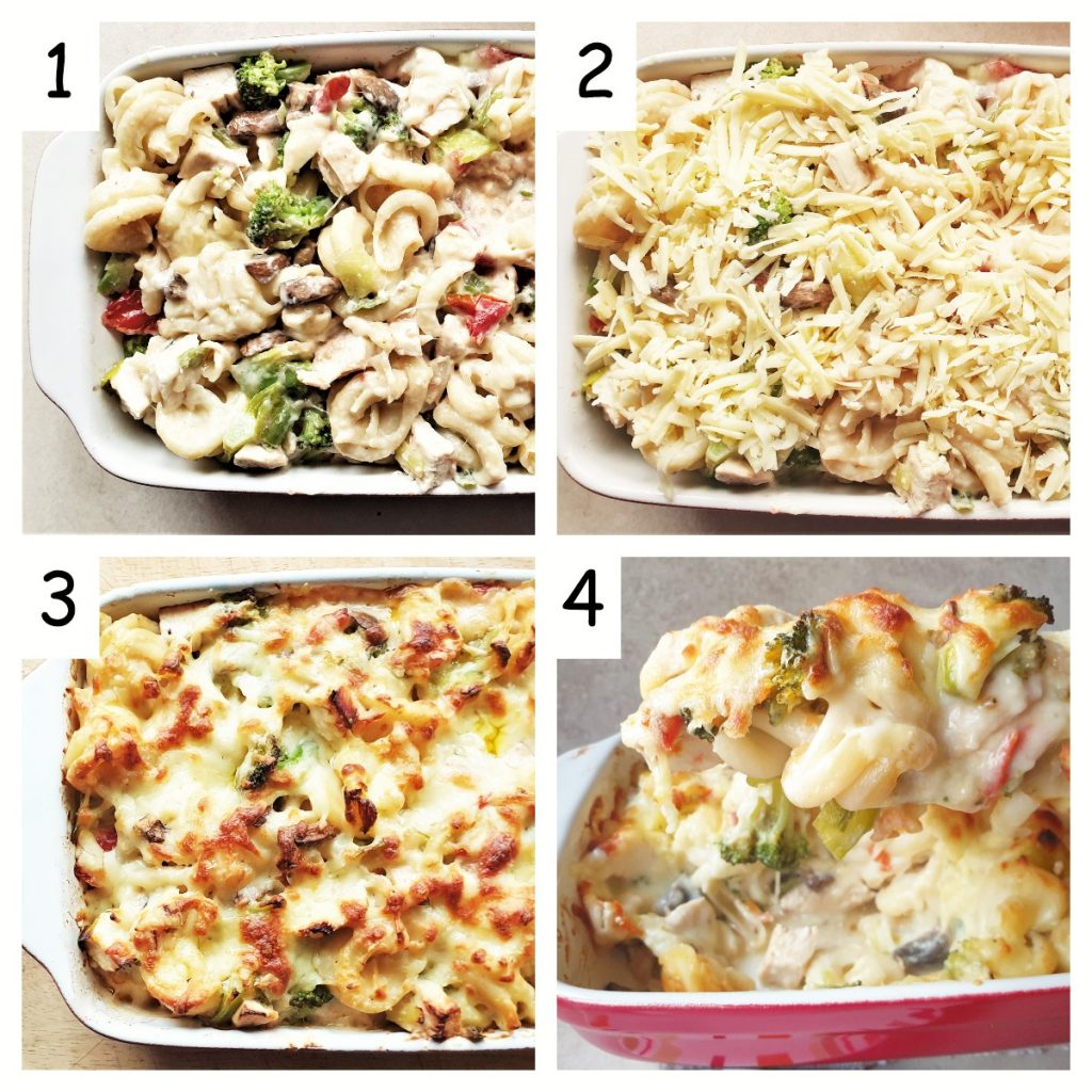 A collage of 4 images showing the unbaked pasta bake in a dish covered with cheese, and also showing the cooked pasta dish.