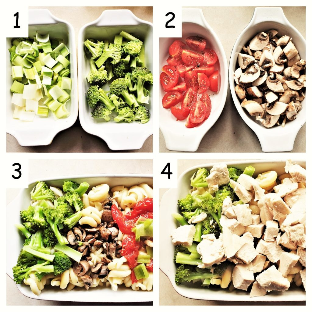 Collage of 4 images showing how to prepare the vegetables and layer them in a baking dish with the pasta.