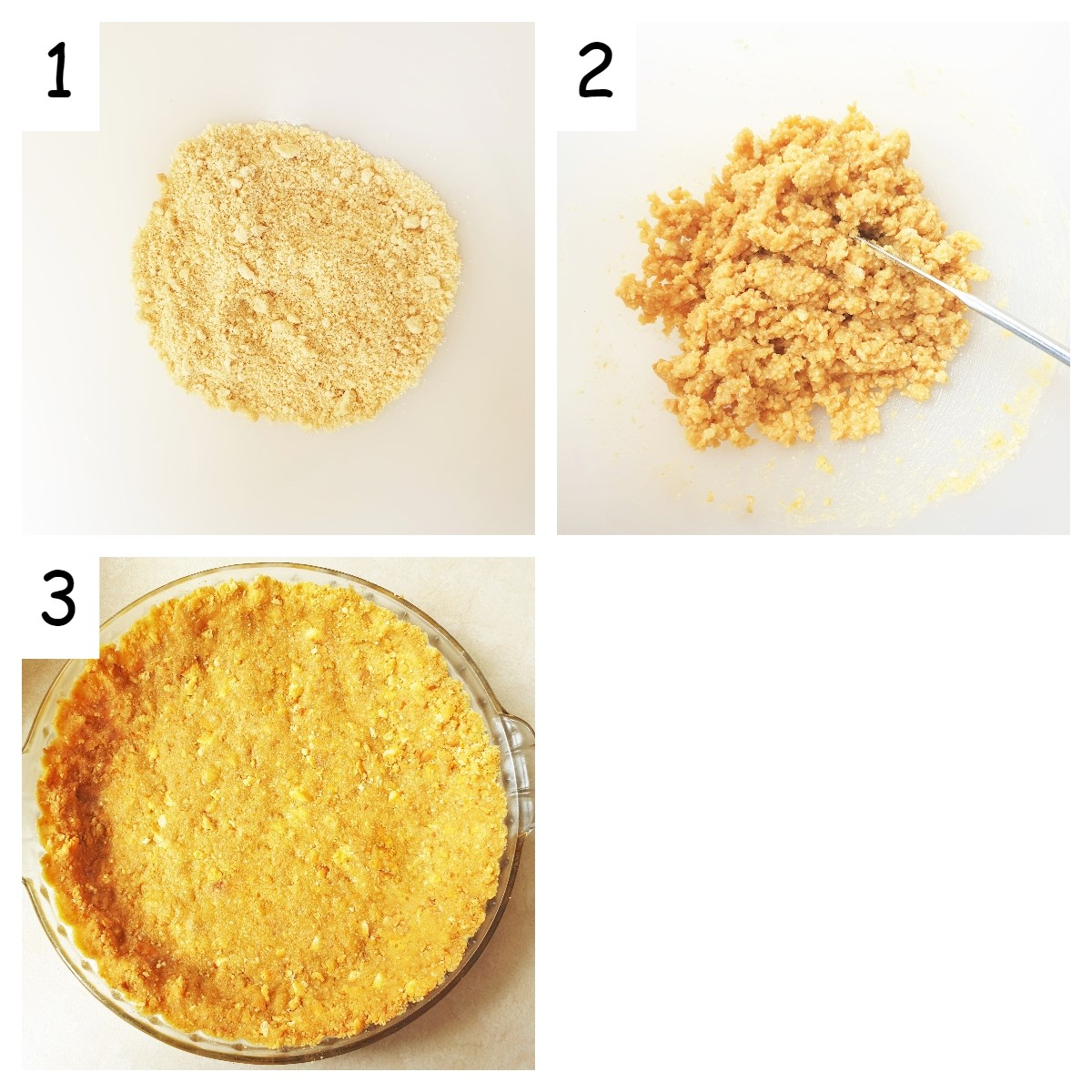 Collage of three images showing the steps for making the biscuit crust for the lemon meringue pie.