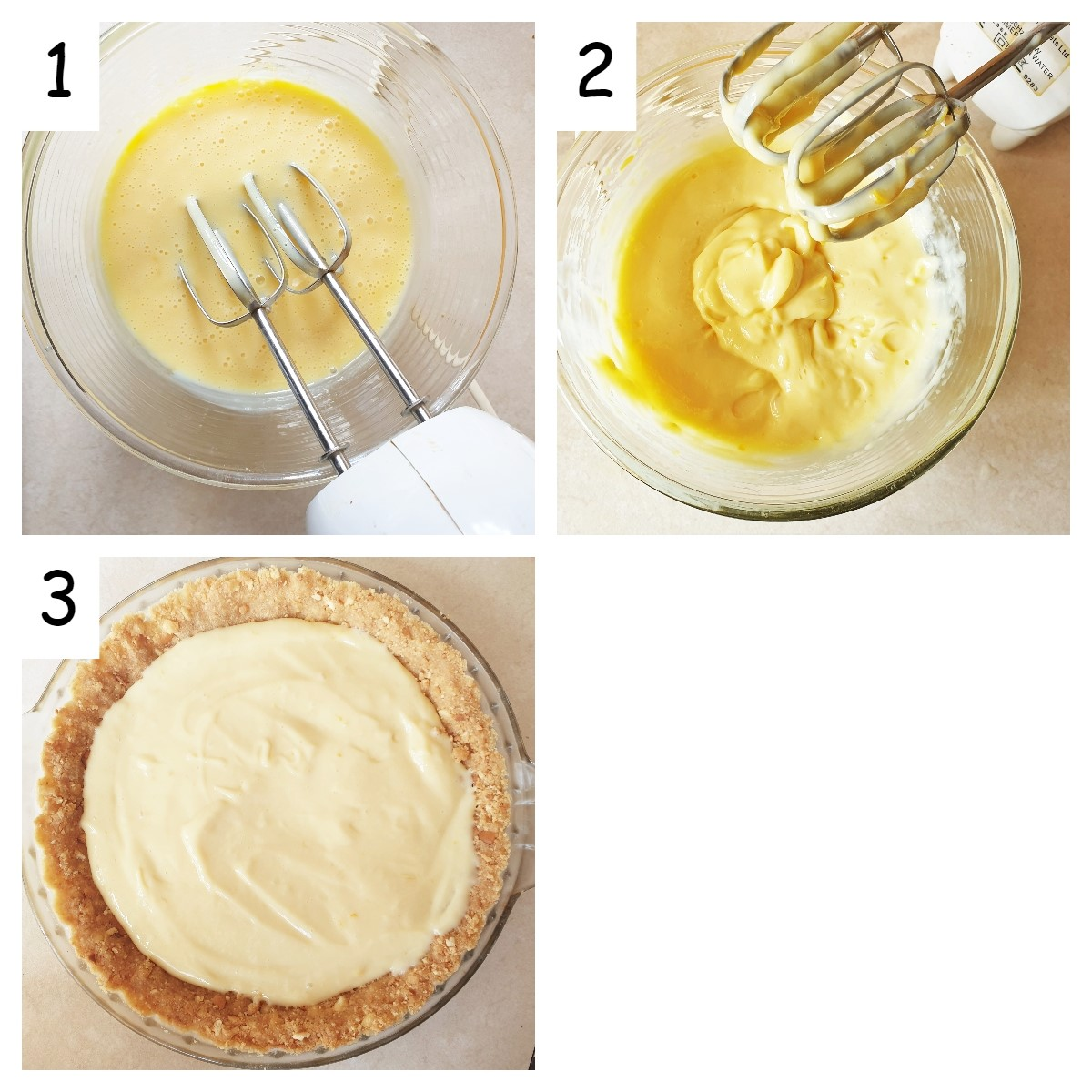 Collage of 3 images showing steps for making the lemon filling, and pouring it into the crust.