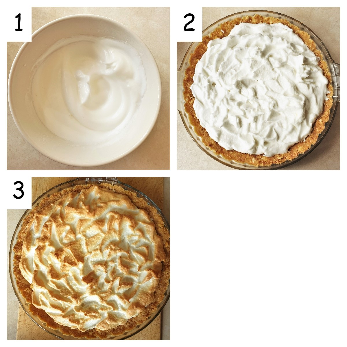 Collage of three images showing the meringue topping being added to the pie and browned in the oven.