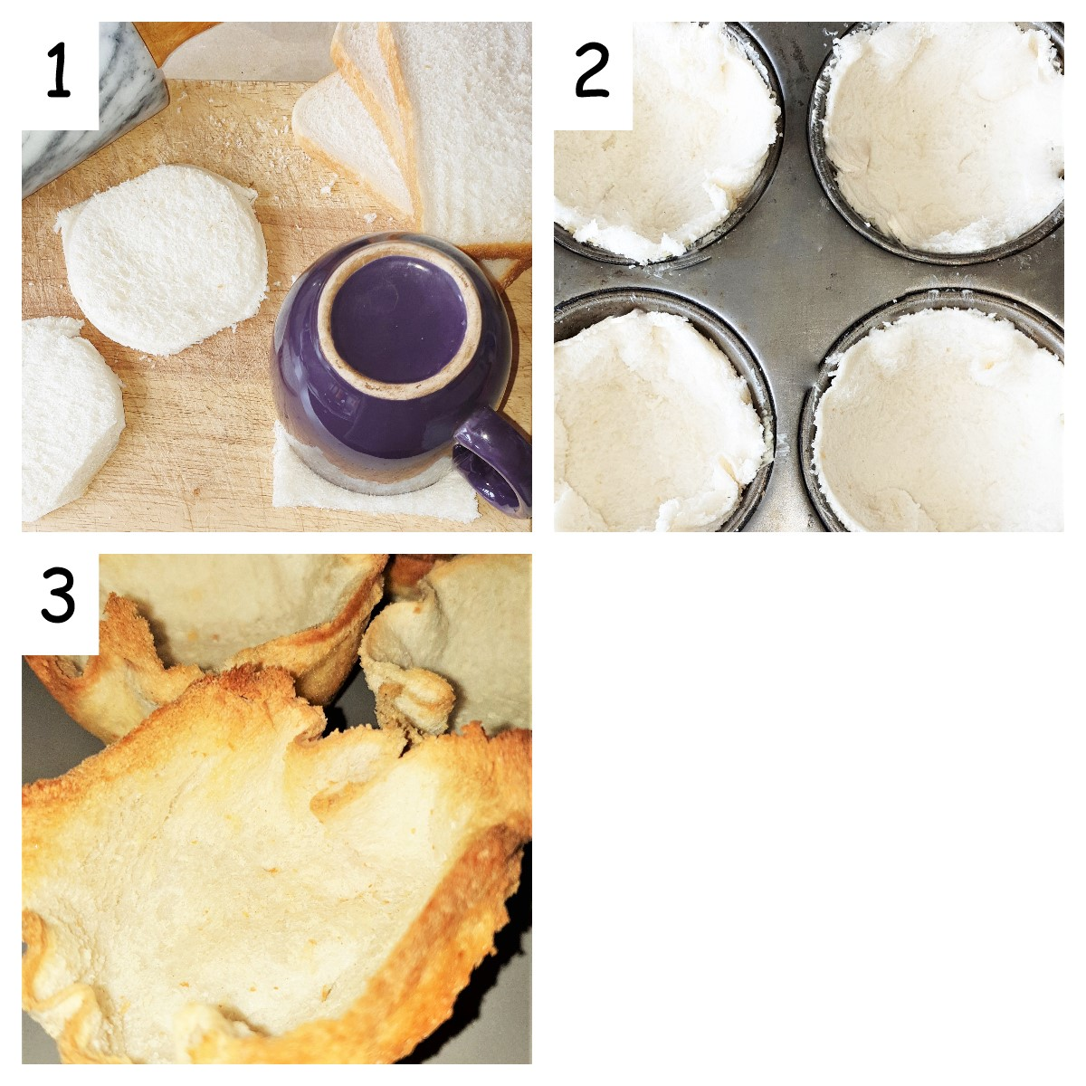 Steps for toasting breadcups