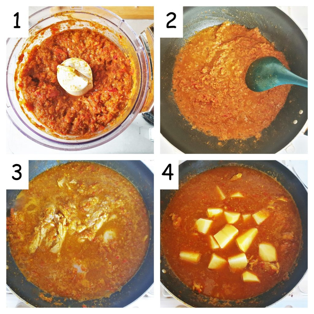 Collage of 4 images showing how to make chicken bhuna.