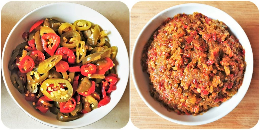 2 images showing a bowl of jalapeno peppers and a bowl of jalapeno chili paste.