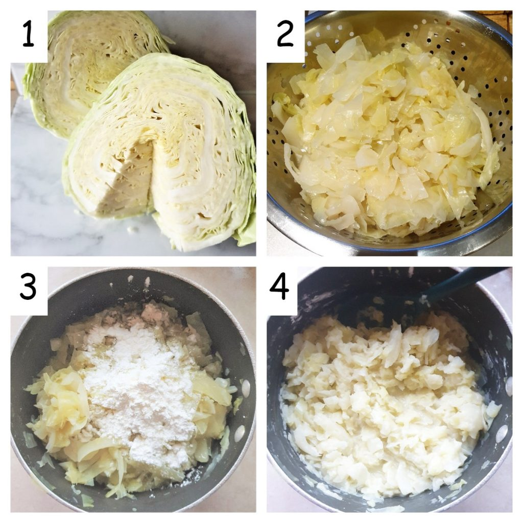 A collage of 4 images showing how to shred and boil the cabbage.