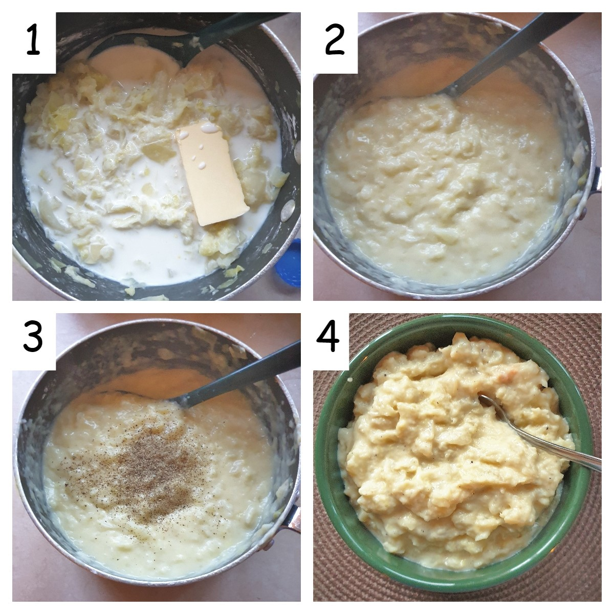 A collage of 4 images showing the steps for making the sauce for the cabbage.