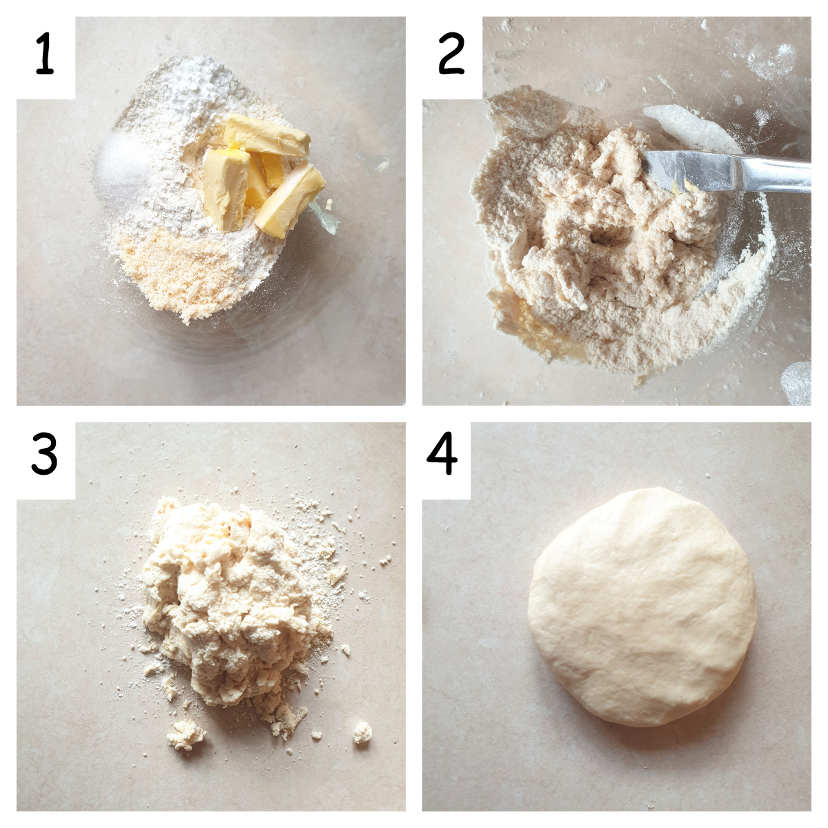 4 images showing how to mx naan btread.