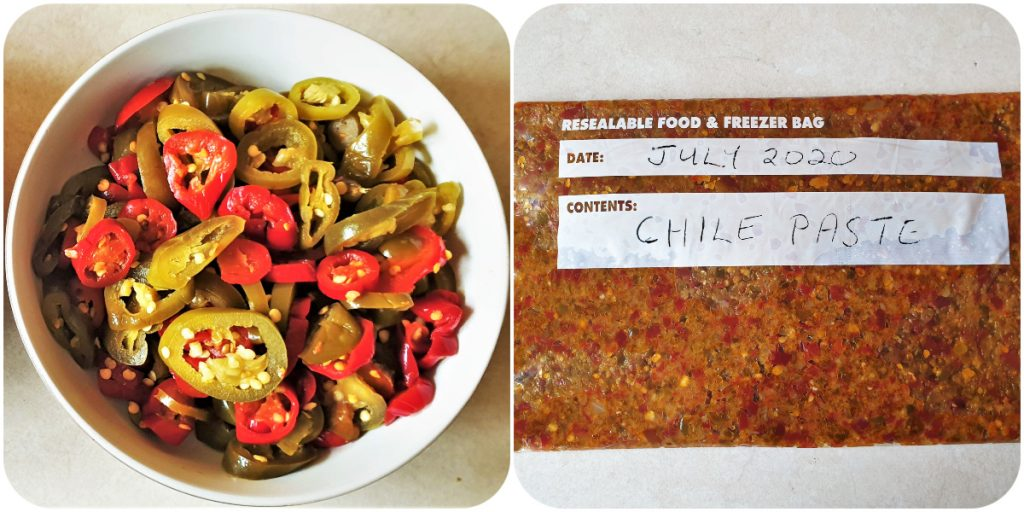 2 images showing a bowl of jalapeno peppers and a packet of peppers ready for freezing.
