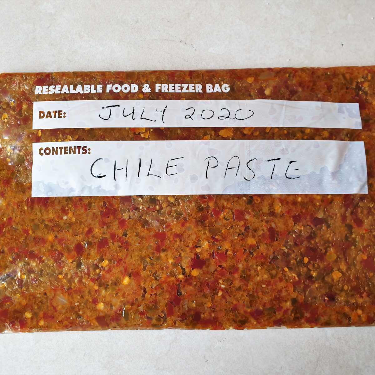 A packet of jalapeno chili paste ready for the freezer.