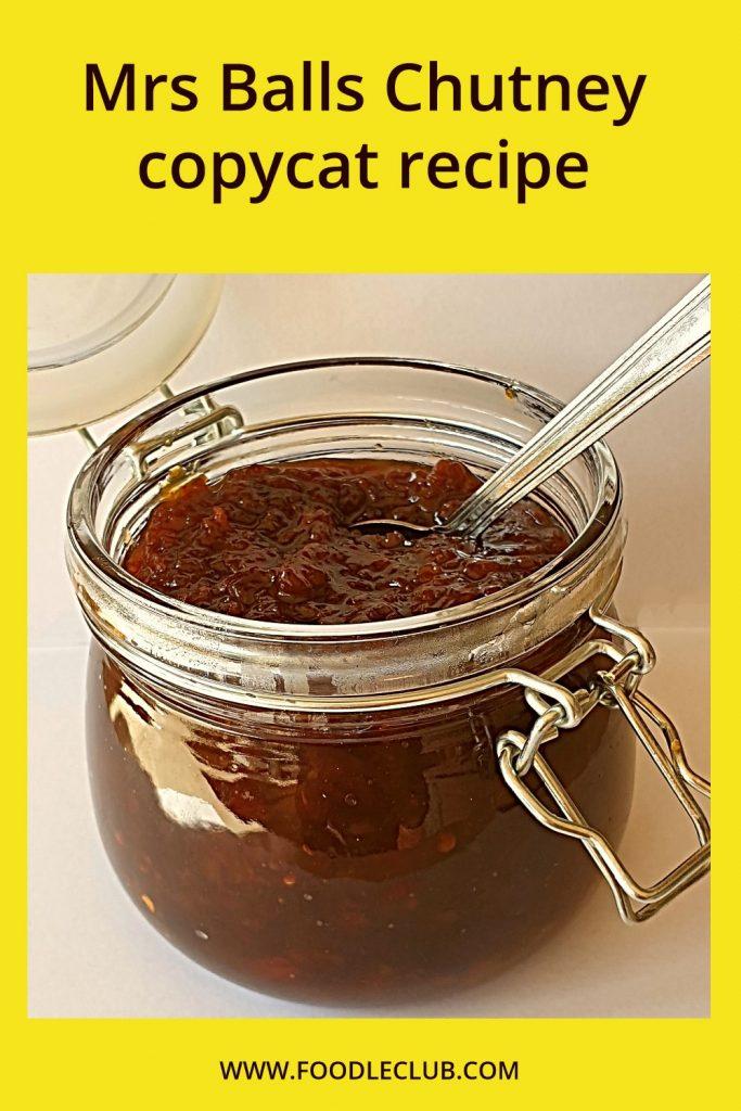 An open jar of mrs balls chutney.