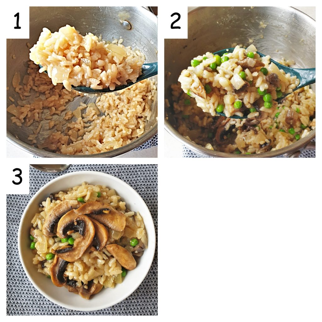 Collage of 3 images showing the texture of the cooked rice, and the finished dish once the mushrooms, cheese and peas have been added.