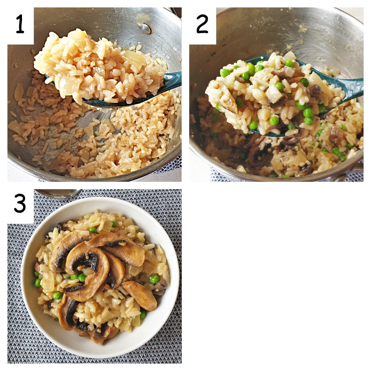A collage of 3 images showing the texture of the cooked rice, and the finished dish once the mushrooms and peas have been added.