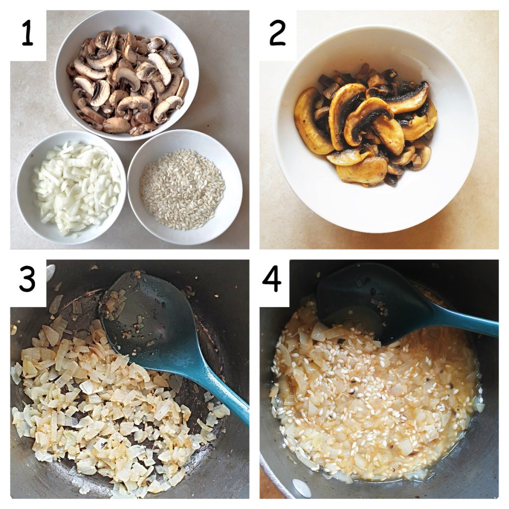 Collage of 4 images showing how to chop the onions and mushrooms, and how to fry them with the rice