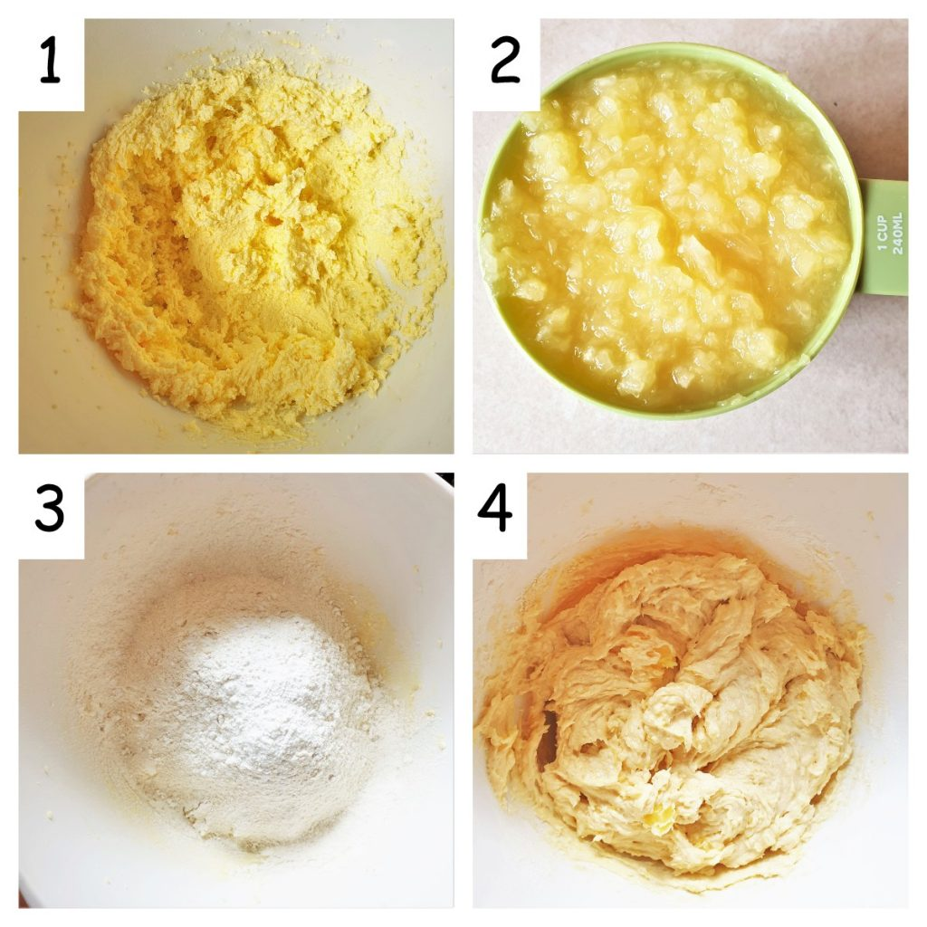 A collage of 4 images showing how to mix the pineapple coconut cake.