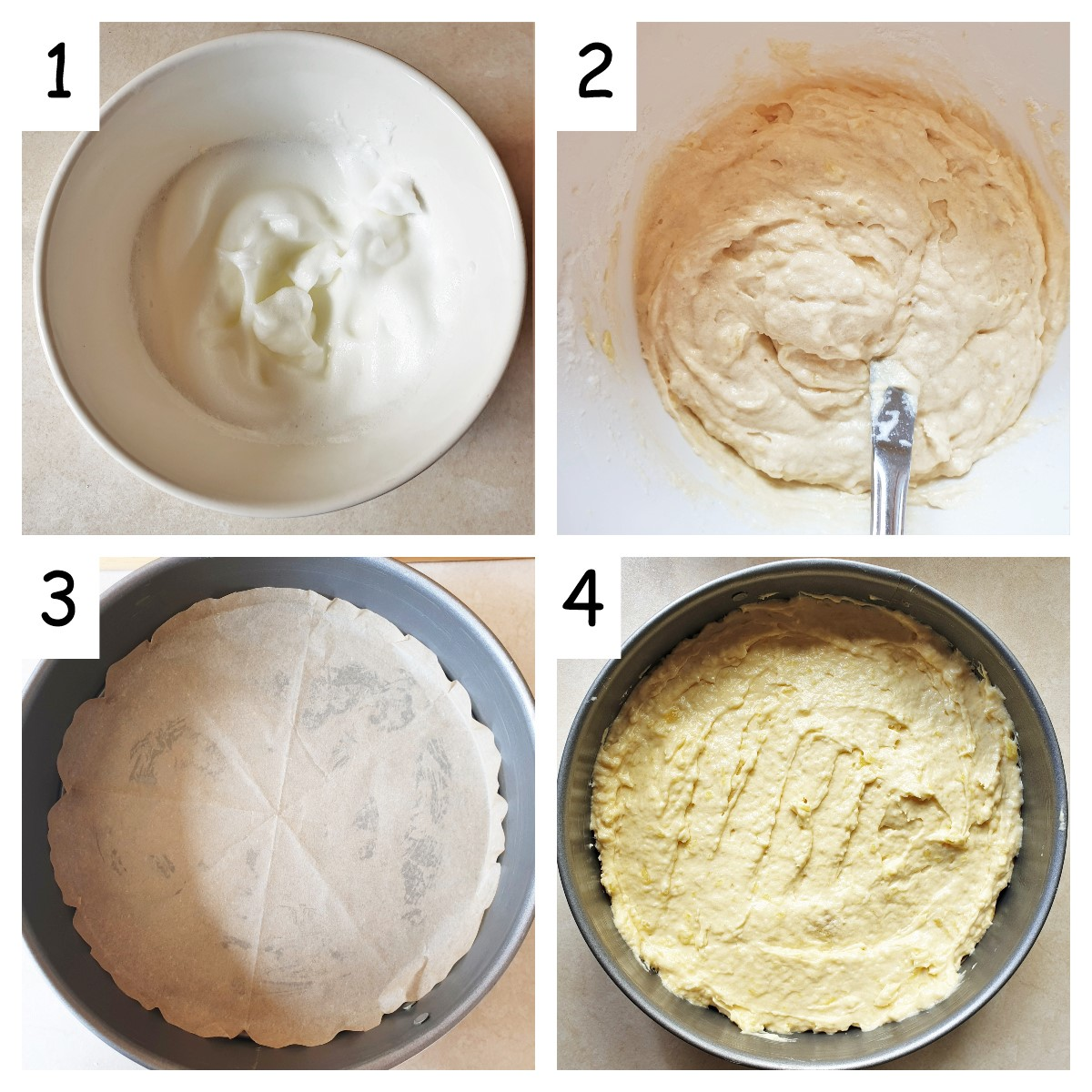 A collage of 4 images showing how to mix in the egg whites, and also how to line the baking tin.