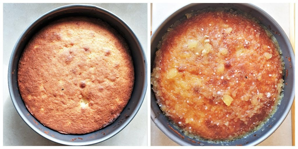 2 images showing the baked pineapple coconut cake.