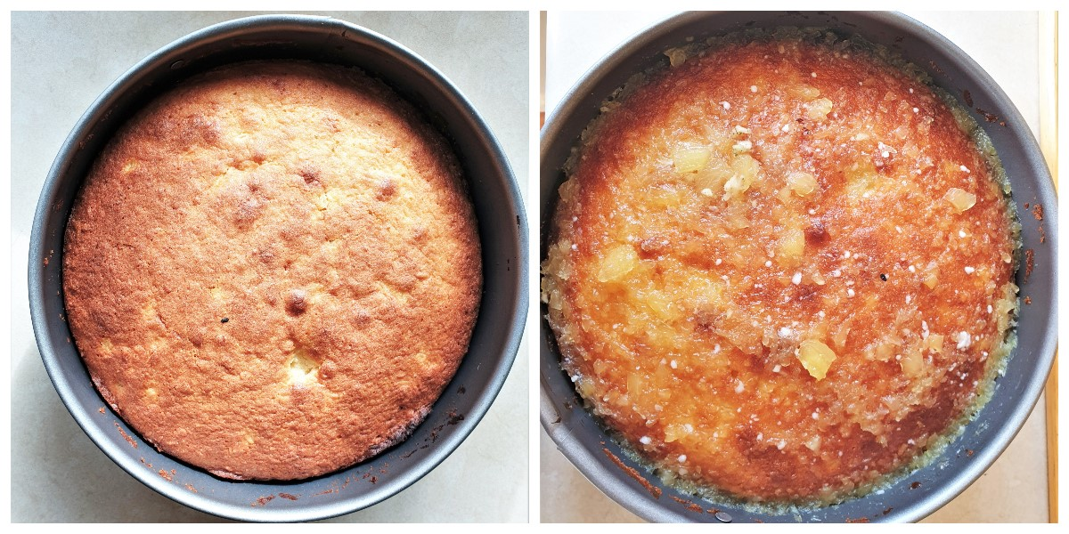 Two images showing the baked pineapple cake before and after the pineapple sauce is poured over it.