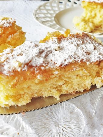 A slice of pineapple coconut cake.