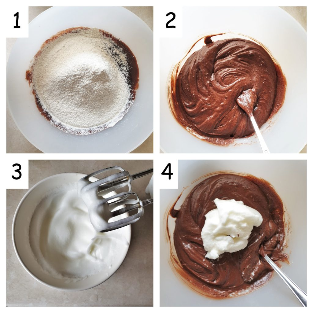 Collage of 4 images showing the flour and beaten egg white being added to the cake.