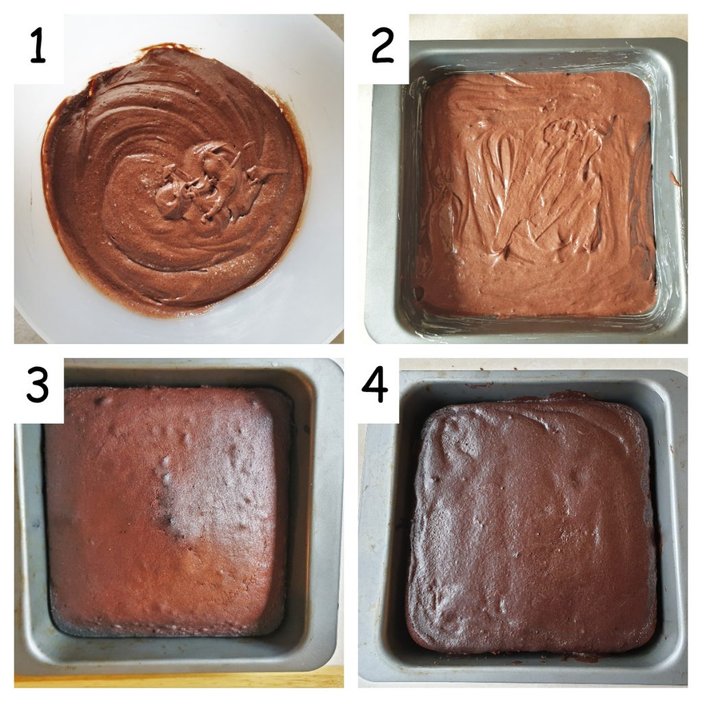 Collage of 4 images showing the steps to bake and frost the cake.