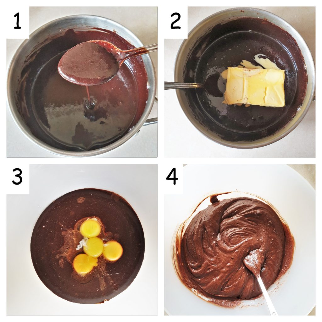 Collage of 4 images showing the cocoa and butter being melted and the eggs being added.