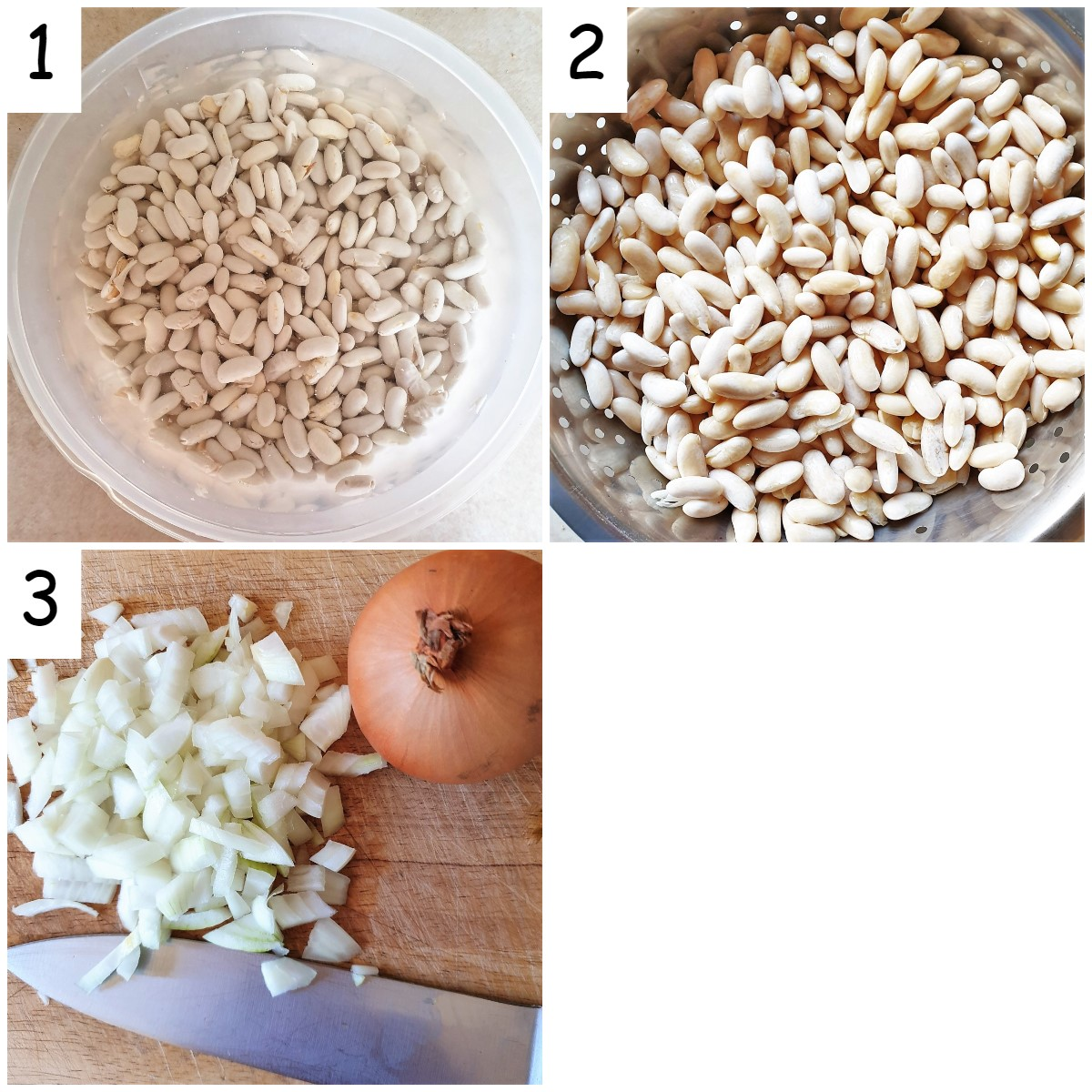 Three images showing raw beans being soaked in water, the beans after being soaked, and a pile of chopped onions.