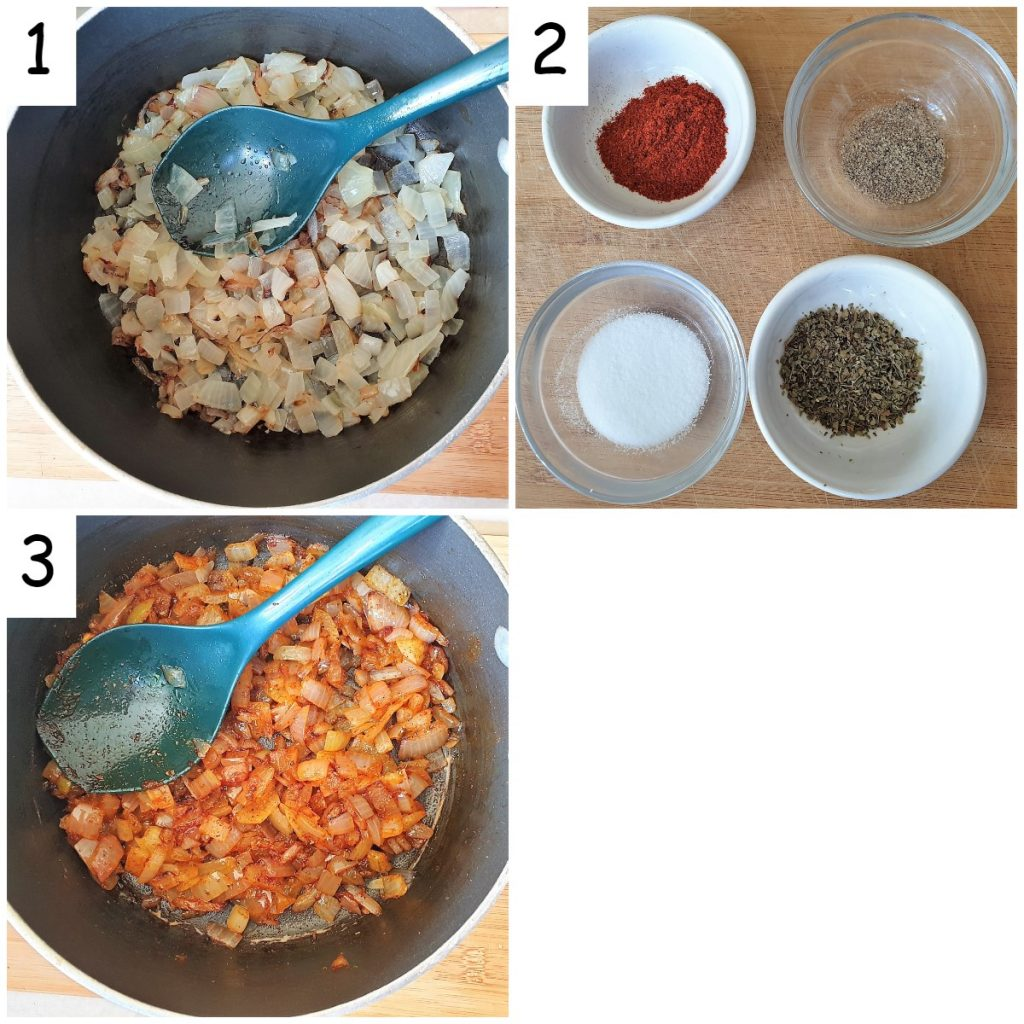 Three images showing the onions being fried, and then the spices being added.