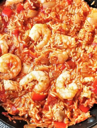 A pan of cooked jambalaya.