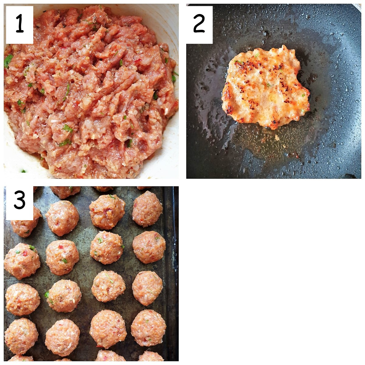 Steps for mixing and shaping the Thai meatballs