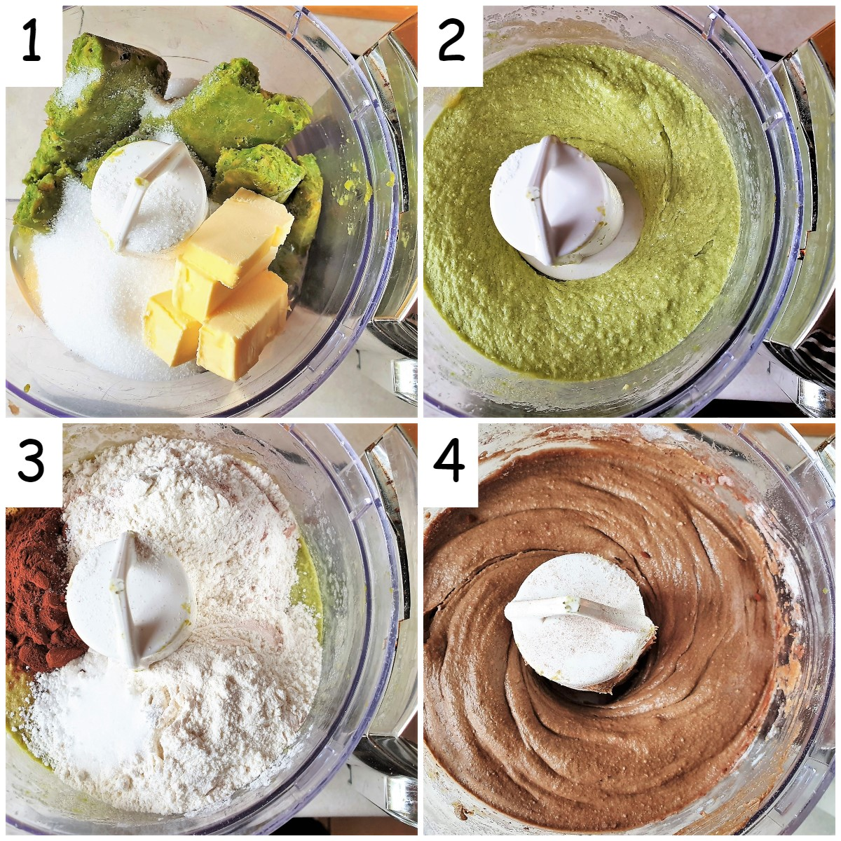 A collage of 4 images showing the steps for mixing the batter for chocolate mud brownies.