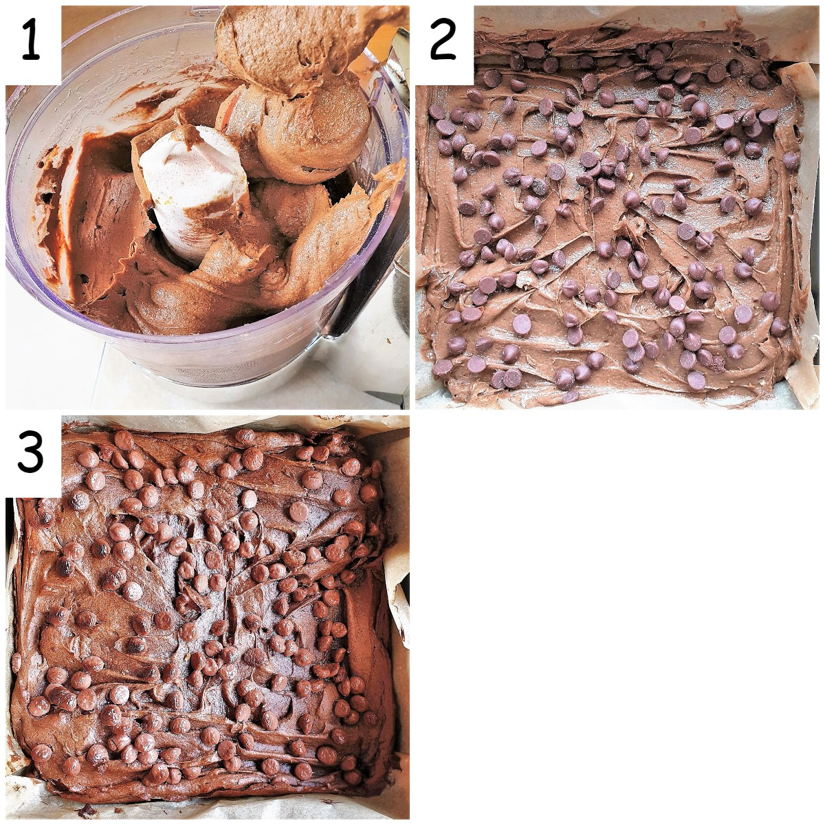 A collate of 3 images showing the brownie batter mixture being placed in a baking tin.
