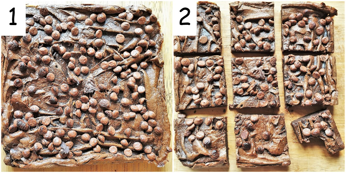 Twp images showing the baked chocolate mud brownies.  One image of the whole cake, the other image of the cake cut into squares.